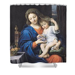 The Virgin Of The Grapes Shower Curtain by Pierre Mignard