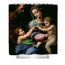 The Virgin Of The Rose Shower Curtain by Raphael