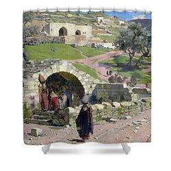 The Virgin Spring In Nazareth Shower Curtain by Vasilij Dmitrievich Polenov