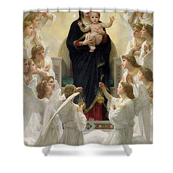 The Virgin With Angels Shower Curtain by William-Adolphe Bouguereau