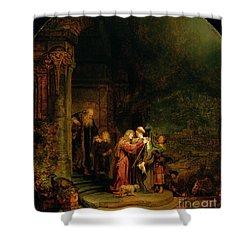 The Visitation Shower Curtain by  Rembrandt Harmensz van Rijn