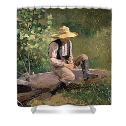 The Whittling Boy Shower Curtain by Winslow Homer