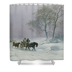 The Wintry Road To Market  Shower Curtain by Thomas Sidney Cooper