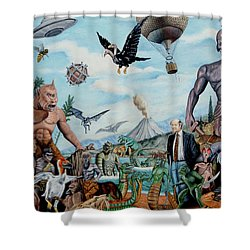The World Of Ray Harryhausen Shower Curtain by Tony Banos