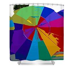 Three Beach Umbrellas Shower Curtain by David Lee Thompson