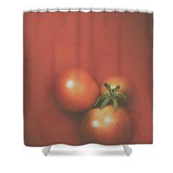 Three Cherry Tomatoes Shower Curtain by Scott Norris