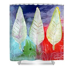 Three Leaves Of Good Shower Curtain by Linda Woods
