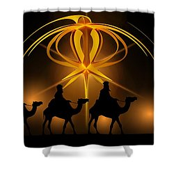 Three Wise Men Christmas Card Shower Curtain by Bellesouth Studio