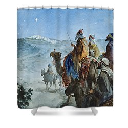 Three Wise Men Shower Curtain by Henry Collier
