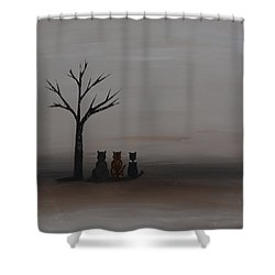 Three's Company Shower Curtain by Leana De Villiers