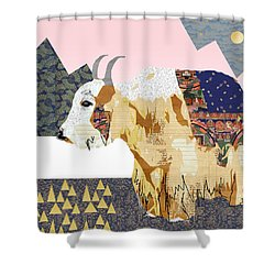 Tibet Yak Collage Shower Curtain by Claudia Schoen