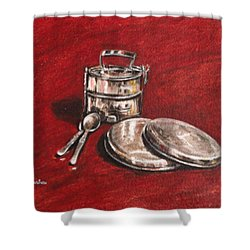 Tiffin Carrier - Still Life Shower Curtain by Usha Shantharam