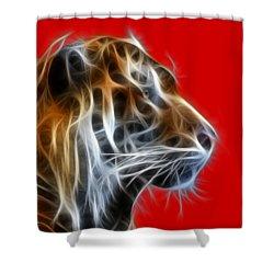 Tiger Fractal 2 Shower Curtain by Shane Bechler