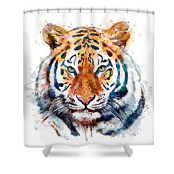 Tiger Head Watercolor Shower Curtain by Marian Voicu