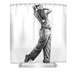Tiger Woods Full Swing Shower Curtain by Murphy Elliott