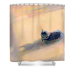 Tiny Kitten Big Dreams Shower Curtain by Kimberly Santini