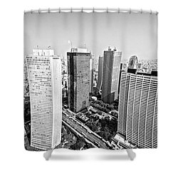 Tokyo Skyline Shower Curtain by Pravine Chester