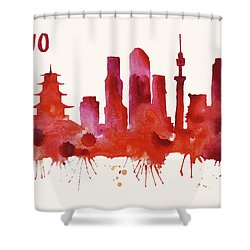 Tokyo Skyline Watercolor Poster - Cityscape Painting Artwork Shower Curtain by Beautify My Walls