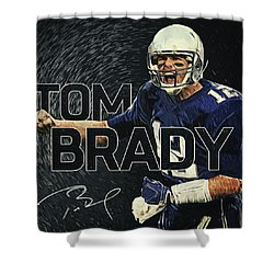 Tom Brady Shower Curtain by Taylan Apukovska