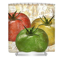 Tomatoes Tomates Shower Curtain by Mindy Sommers