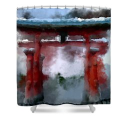 Torii Shower Curtain by Geoffrey C Lewis