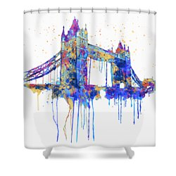 Tower Bridge Watercolor Shower Curtain by Marian Voicu