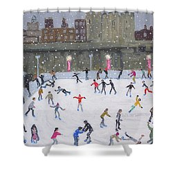Tower Of London Ice Rink Shower Curtain by Andrew Macara