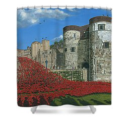 Tower Of London Poppies - Blood Swept Lands And Seas Of Red  Shower Curtain by Richard Harpum