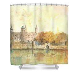 Tower Of London Watercolor Shower Curtain by Juan Bosco