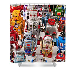 Toy Robots Shower Curtain by Garry Gay