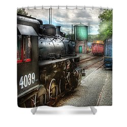 Train - Engine - 4039 - In The Train Yard  Shower Curtain by Mike Savad