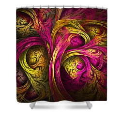 Tree Of Life In Pink And Yellow Shower Curtain by Tammy Wetzel