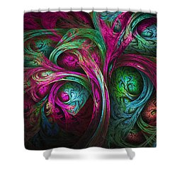 Tree Of Life-pink And Blue Shower Curtain by Tammy Wetzel