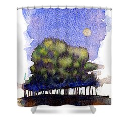 Trees At Moon Rise Shower Curtain by John D Benson
