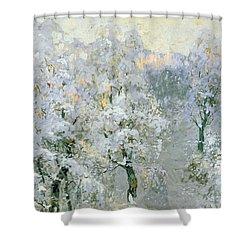 Trees In Wintry Silver Shower Curtain by Konstantin Ivanovich Gorbatov