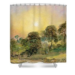 Trees On Hampstead Heath At Sunset Shower Curtain by John Constable