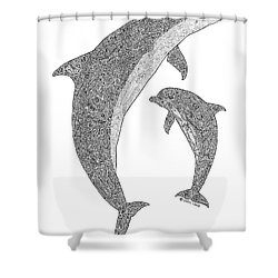 Tribal Bottle Nose Dolphin And Calf Shower Curtain by Carol Lynne