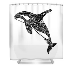 Tribal Orca Shower Curtain by Carol Lynne