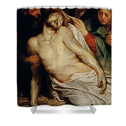 Triptych Of Christ On The Straw Shower Curtain by Rubens