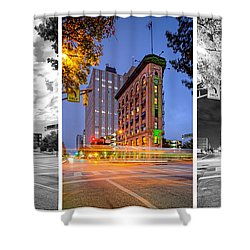 Triptych Of The Flatiron Building In Downtown Fort Worth - Texas  Shower Curtain by Silvio Ligutti