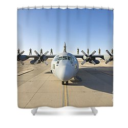 Troops Stand On The Wings Of A C-130 Shower Curtain by Terry Moore