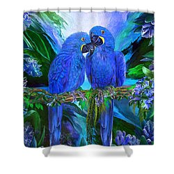 Tropic Spirits - Hyacinth Macaws Shower Curtain by Carol Cavalaris
