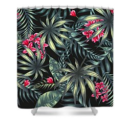 Tropical Leaf Pattern  Shower Curtain by Stanley Wong