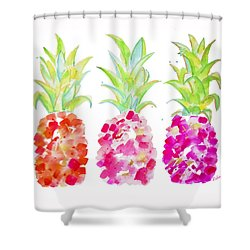 Tropical Pink And Gold Shower Curtain by Roleen Senic