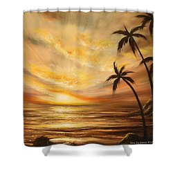 Tropical Sunset 64 Shower Curtain by Gina De Gorna