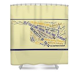 Tu Word Art University Of Tulsa Shower Curtain by Roberta Peake