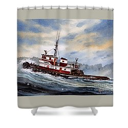 Tugboat Earnest Shower Curtain by James Williamson