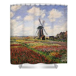 Tulip Fields With The Rijnsburg Windmill Shower Curtain by Claude Monet