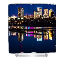 Tulsa Skyline At Twilight Shower Curtain by Tamyra Ayles