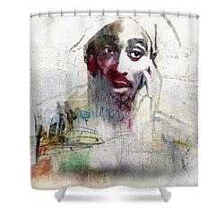 Tupac Graffitti 2656 Shower Curtain by Jani Heinonen